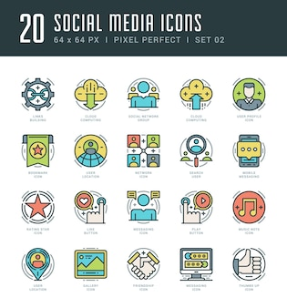 Los iconos de contorno establecen símbolos de redes sociales