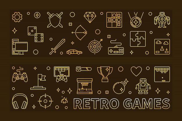 Iconos de contorno de juegos retro