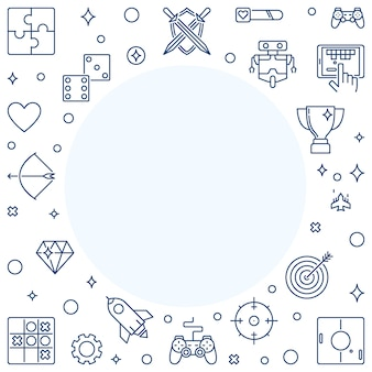 Iconos de contorno de jugador con marco