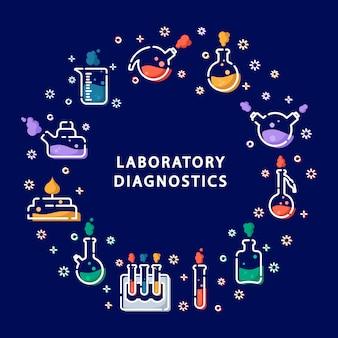 Iconos de contorno en marco redondo: matraz de laboratorio, vaso medidor, tubo de ensayo, experimento científico