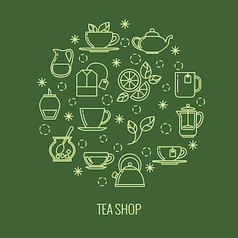 Iconos de contorno de té verde en círculo