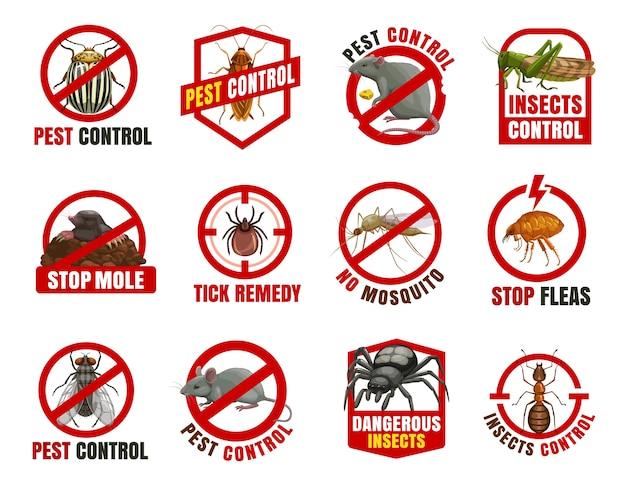 Iconos de control de plagas. escarabajo de colorado, cucaracha y rata con langosta, topo, garrapata y mosquito con pulga. mosca, ratón y araña con prohibición de dibujos animados de hormigas, advierten insectos peligrosos