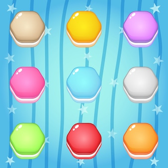 Iconos de cookies en forma de hexágono para el diseño del juego.
