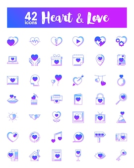 Iconos de corazón y amor