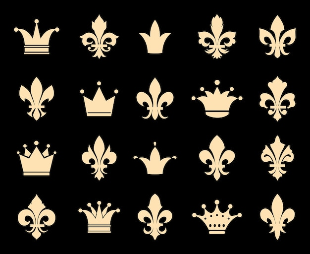 Iconos de corona y flor de lis. insignia del símbolo, decoración heráldica antigua real, ilustración vectorial