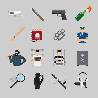 Iconos de crimen en diseño plano. delincuente y policía, robo y buscado