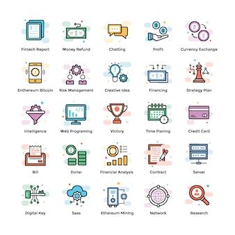 Iconos de criptomoneda y blockchain