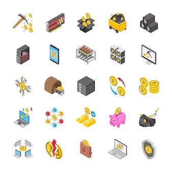 Iconos de criptomonedas y bitcoin