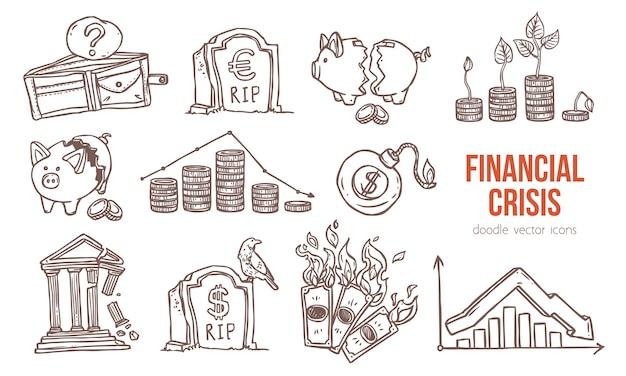 Iconos de crisis financiera y económica.