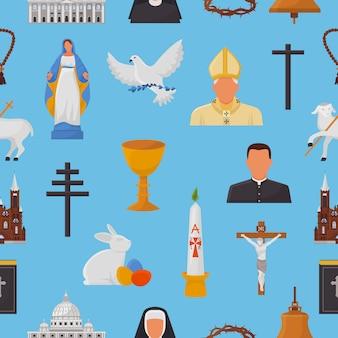 Iconos cristianos cristianismo religión signos y símbolos religiosos iglesia fe cristo biblia cruz manos orando a dios ilustración bíblica patrón de fondo