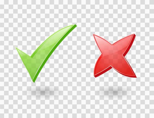 Iconos de cruz y marca de verificación