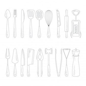 Iconos de cubiertos en estilo handdrawn