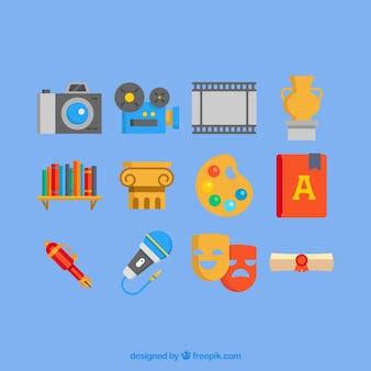Iconos de la cultura de colores en diseño plano