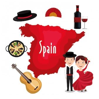 Iconos de la cultura española aislados icono de diseño