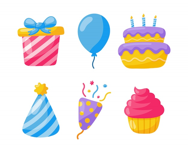Iconos de cumpleaños celebración de fiesta artículos festivos de carnaval aislados en blanco.