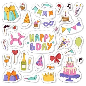 Iconos de cumpleaños en estilo de colores planos.
