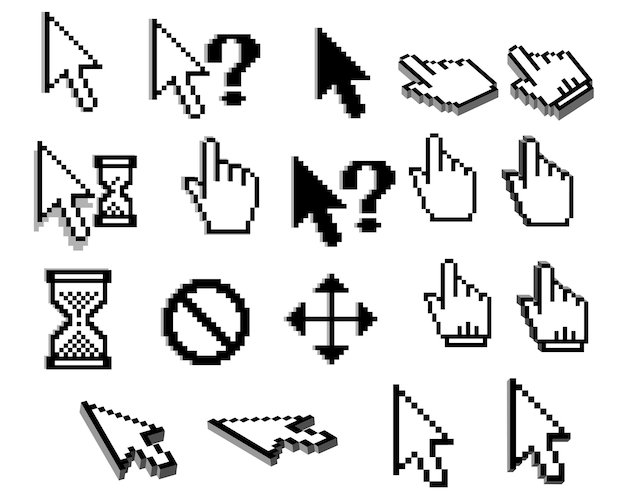 Iconos de cursor gráfico pixelado de flechas, manos del ratón, signos de interrogación, relojes de arena