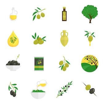 Iconos de aceitunas planas