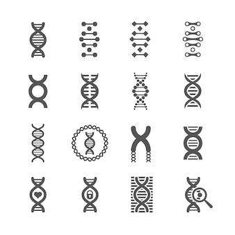 Iconos de adn espiral vector negro