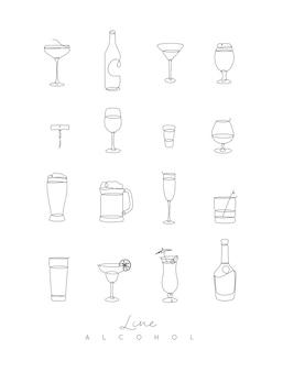 Iconos de alcohol de línea de pluma