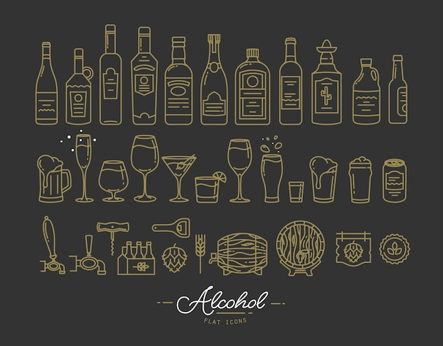 Iconos de alcohol plano oro
