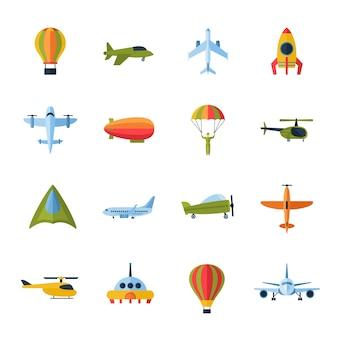 Iconos de aviones establecidos planos