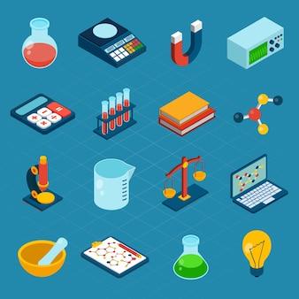 Iconos de ciencia isométrica