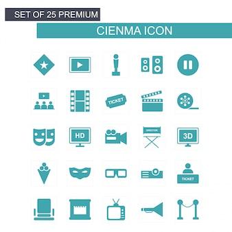 Iconos de cine set vector