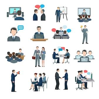 Iconos de conferencia planos