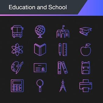 Iconos de educación y escuela