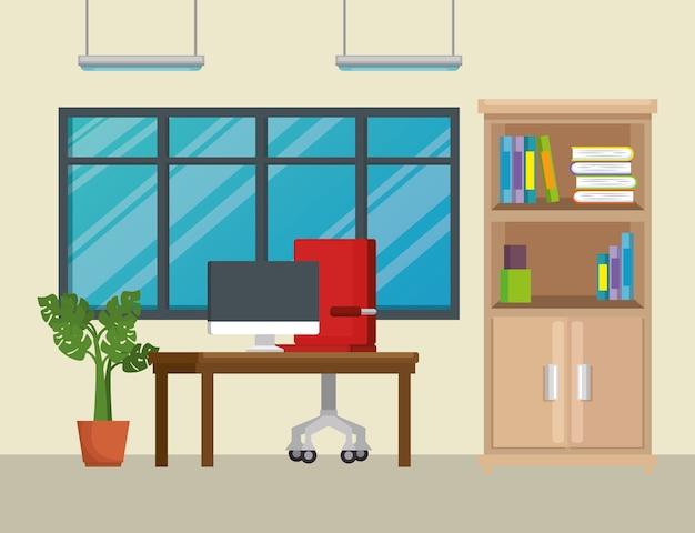 Iconos de escena de trabajo de oficina