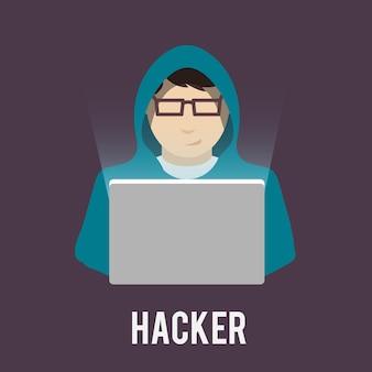 Iconos de hacker planos