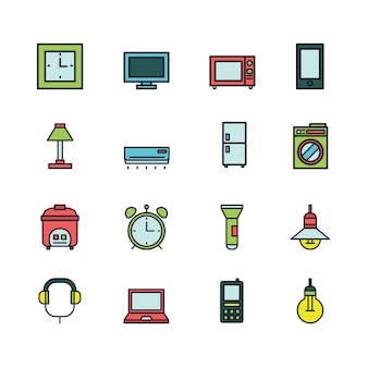 Iconos de hogar colorido plano