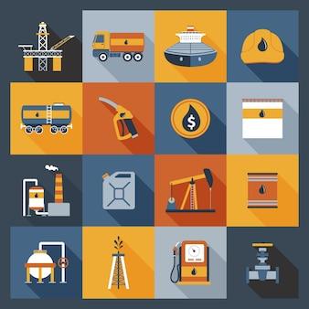 Iconos de la industria petrolera planos