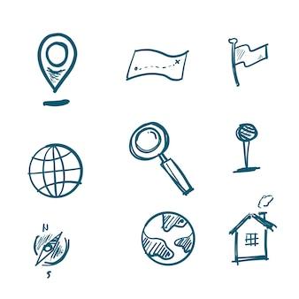 Iconos de navegación dibujados a mano