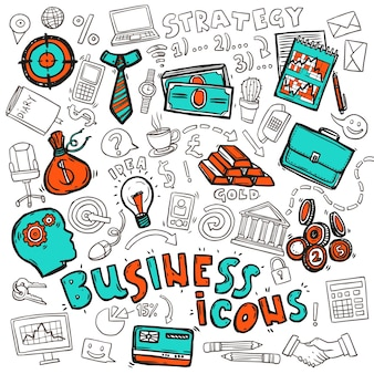 Iconos de negocios doodle sketch