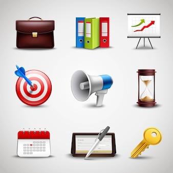 Iconos de negocios realistas