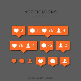 Iconos de notificación de instagram