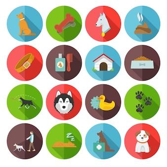 Iconos de perro planos