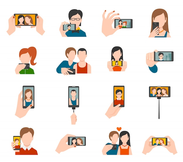 Iconos de selfie planos