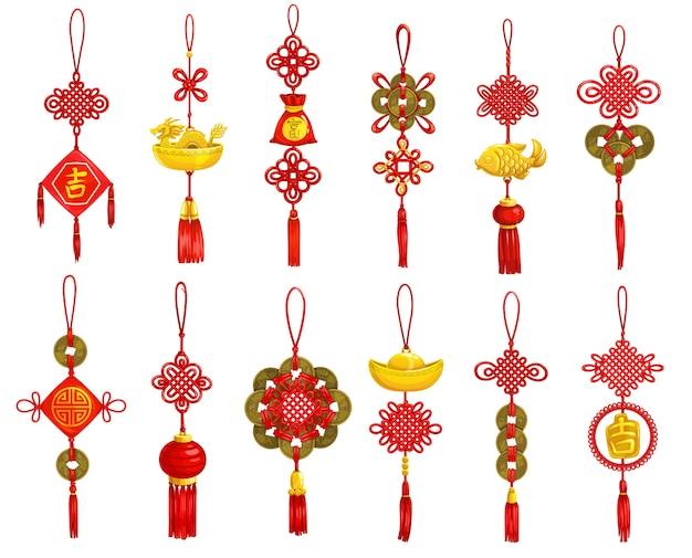 Iconos de decoración y adorno de año nuevo chino