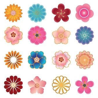Los iconos decorativos chinos, flores en el papel moderno 3d cortaron estilo.
