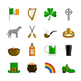 Iconos decorativos de color plano de irlanda con leprechaun sombrero verde y zapatilla arco iris con terrier irlandés dorado y botella de whisky