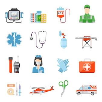 Iconos decorativos de color plano paramédico