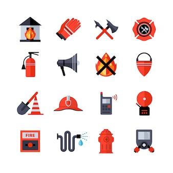 Iconos decorativos del cuerpo de bomberos
