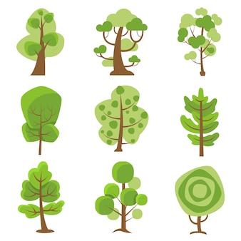 Iconos decorativos de dibujos animados de logotipo de árbol