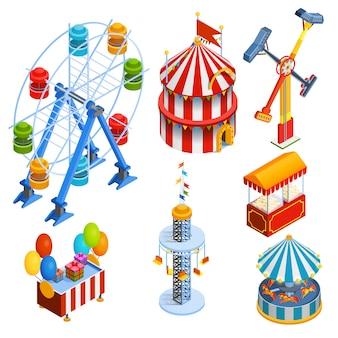 Iconos decorativos isométricos del parque de atracciones