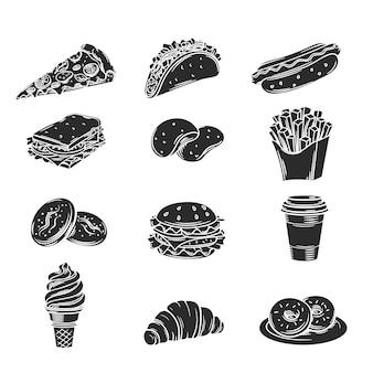 Iconos decorativos monocromáticos de comida rápida.
