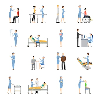 Iconos decorativos de salud enfermera