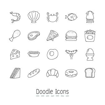 Iconos del alimento del doodle.
